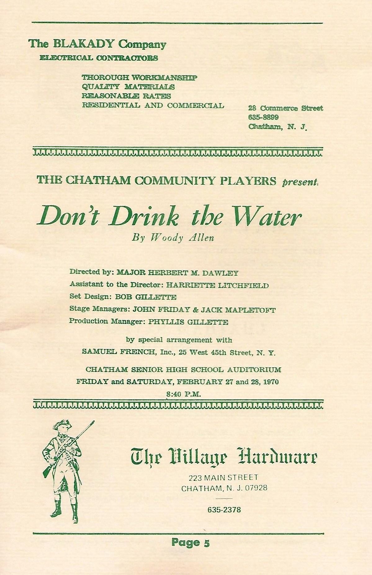 Don't Drink the Water (1970)